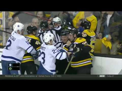 Roman Polak Last Second Hit On Tim Schaller Game 1 Bruins Vs Maple Leafs