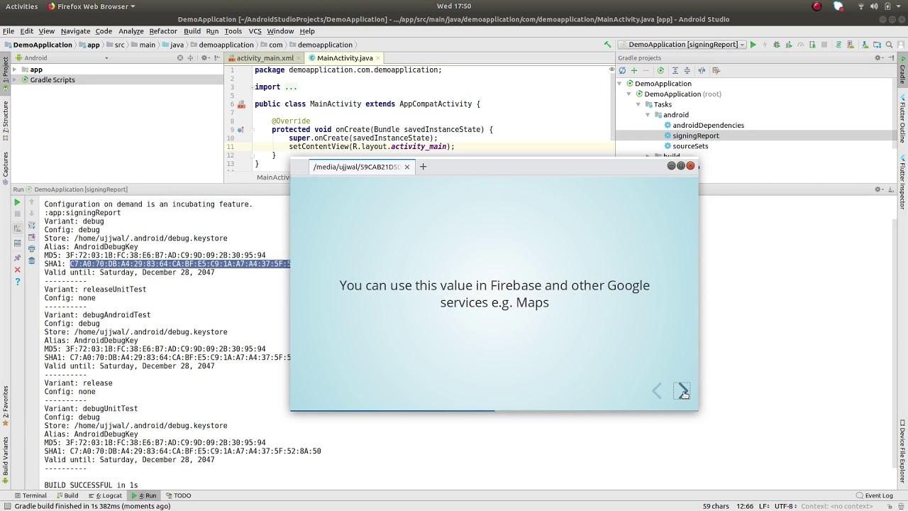 Generate debug SHA1 key using Android Studio for Firebase, Facebook, Google  Maps etc