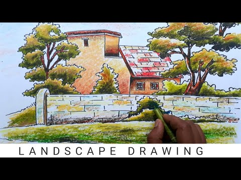Landscape Drawing for Beginners | Oil pastel  #45