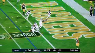 Aaron Rodgers throws game losing interception on the goal line