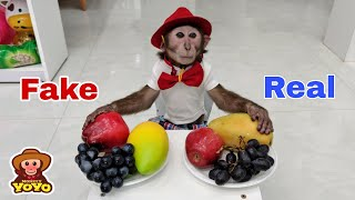 Does YoYo Jr recognize fake fruit and real fruit?