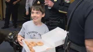 10-Year-Old Boy Delivers Doughnuts to Police Officers in Las Vegas and Houston thumbnail