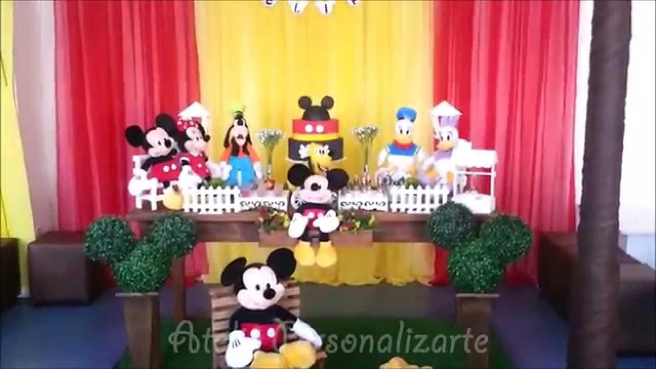 Decoração Youtube ~ Decoraç u00e3o de festa infantil Mickey Mouse Rústico YouTube
