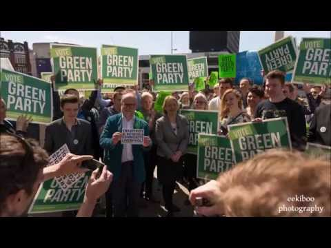 Green Party Leader Natalie Bennett with Martin Dobson in Liverpool for 2015 Elections