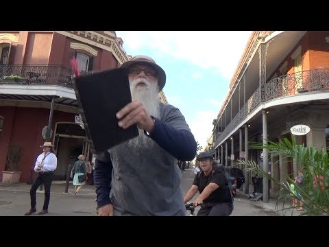 LOUDMOUTH BULLY on bike curses & mocks ELDERLY Street Preacher!