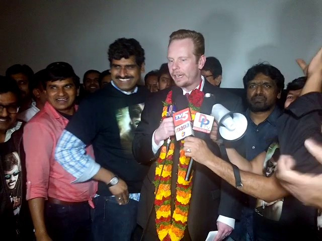 Mayor Protem speaking at Megastar Chiranjeevi Khaidi No 150 Release Hungama in Dallas, Texas