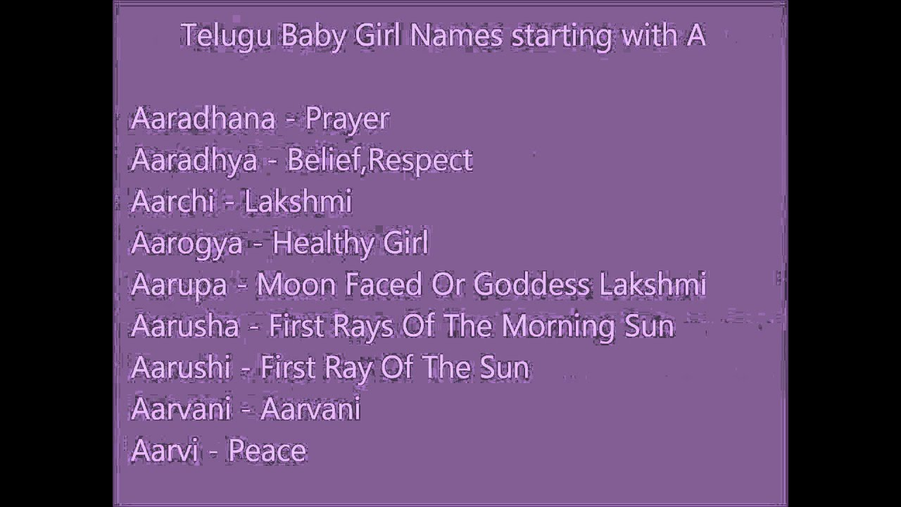 Telugu Baby Girl Names With A