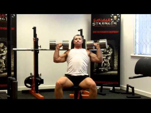 Seated Dumbbell Shoulder Presses with 40kg Savage Strength Custom Pro Dumbbells