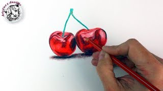 Como Dibujar Cerezas con Lapices de Colores Paso a Paso | Tecnicas de Dibujo