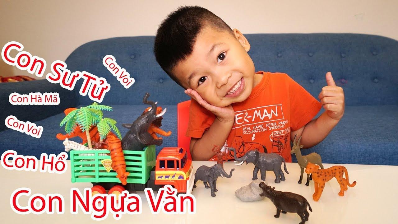 Bé Bắp Học Tên Các Con Vật – Đồ Chơi Ô Tô Chở Các Con Thú Trong Rừng | Animals Toys