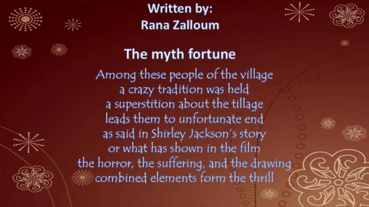 poems about the lottery The lottery is a short story written by shirley jackson, first published in the june 26, 1948 issue of the new yorker the story describes a fictional small town.