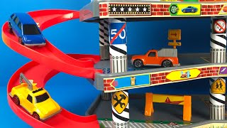Justkidz Super Garage Playset with Cars for boys Tow Truck Toy for your Car Collection