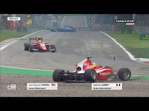 GP3 Series Monza 2018 Race2 Start Correa Aubry Crash