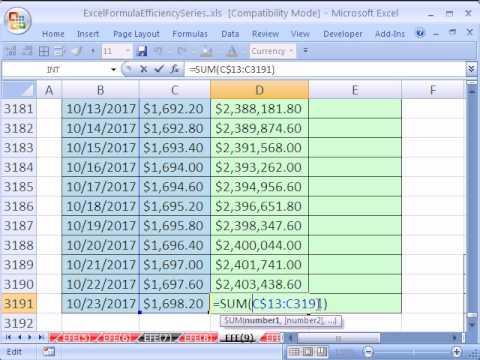 Excel Formula Efficiency 9: Faster Running Total Formula