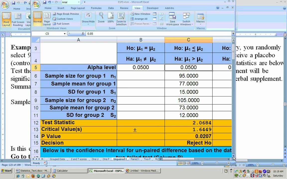 benchmark hypothesis testing excel worksheet