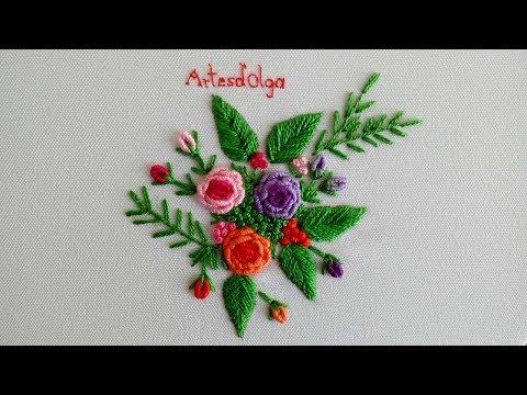Bordado a mano paso a paso: Rosas en puntada rococó  ArtesdOlga