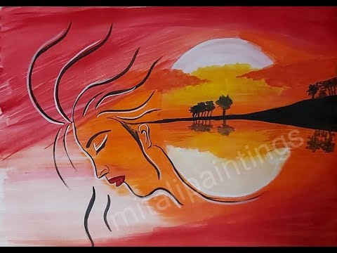 How To Paint Sunset Woman..acrylic painting tutorials…