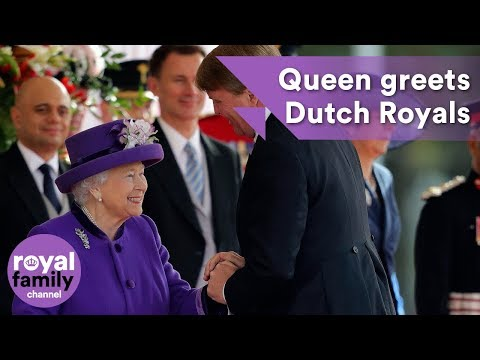 The Queen greets King Willem-Alexander and Queen Maxima of the Netherlands