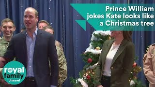 Prince William jokes that Kate looks like a Christmas tree