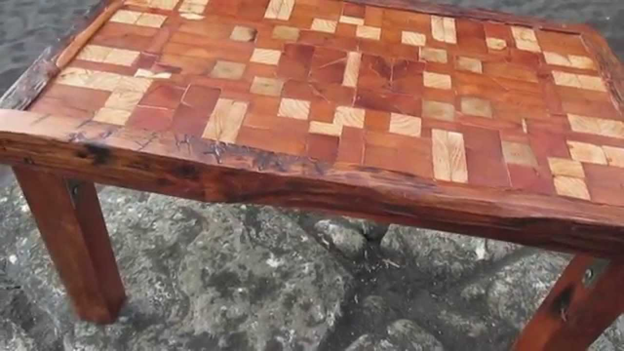 Unique Reclaimed Tsunami Wood Mosaic Coffee Table Handmade In Constitucion  Chile   YouTube