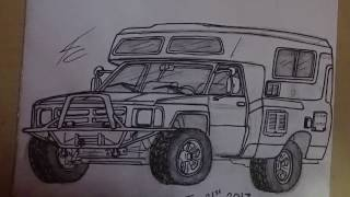 Time Lapse Drawing Of My Dream Camper! 4x4 Toyota Chinook