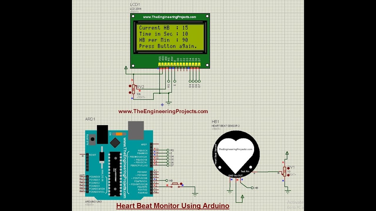 Heart Beat Monitor using Arduino in Proteus