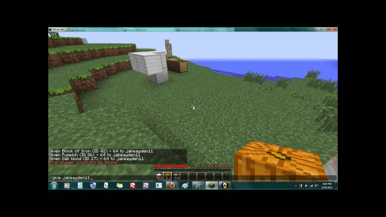 Minecraft how to create a iron golem and make minecraft ID items apear - YouTube