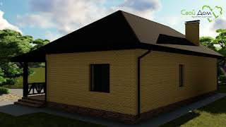 Проект одноэтажного дома Могучий Дуб B-017 с террасой, гаражом, подвалом