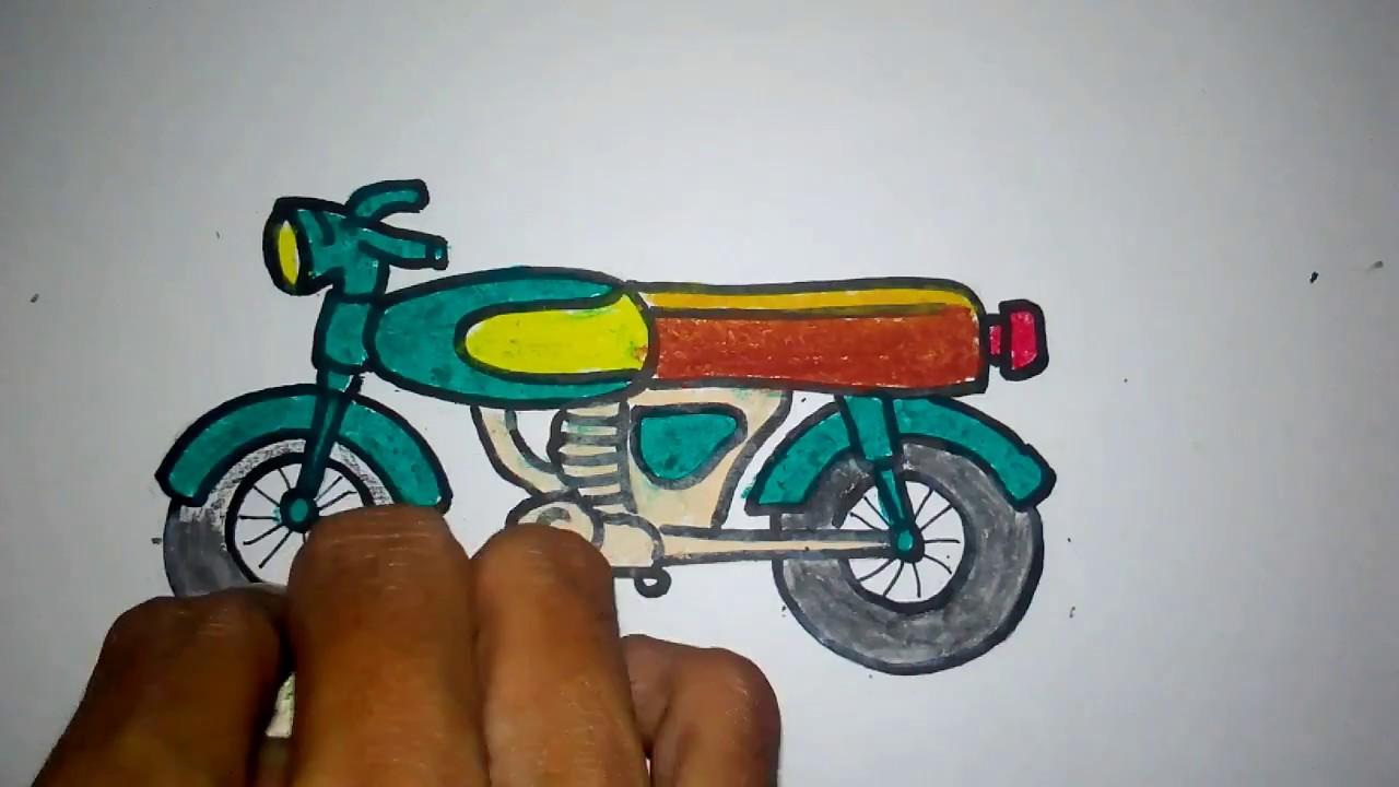 cara menggambar sepeda motor laki