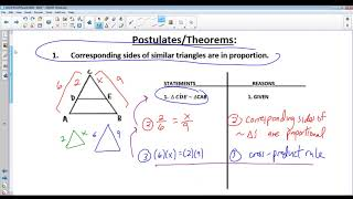 Similarity Proofs - Pŗoportions and Cross-Products