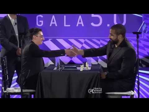 Fabiano Caruana vs John Urschel Chess Blitz Liberty Science Center Genius Gala 5.0