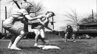 A girls soft ball team practice during their training in Hodges Field in Memphis,...HD Stock Footage