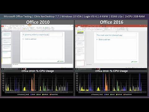 EUC Performance Testing: Office 2010 versus Office 2016 on Windows 10 Citrix VDA