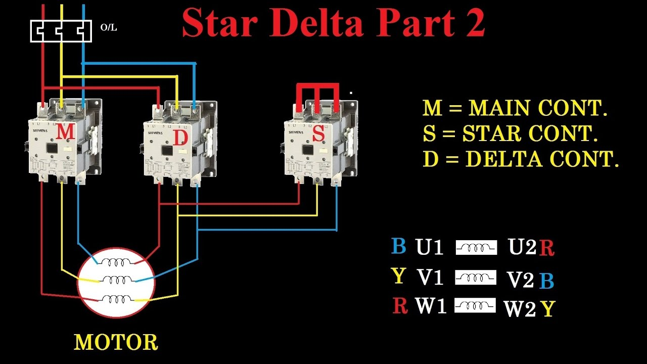 star delta starter motor control with circuit diagram in hindi vfd motor wiring with contactor diagram star delta starter motor control with circuit diagram in hindi part 2 youtube
