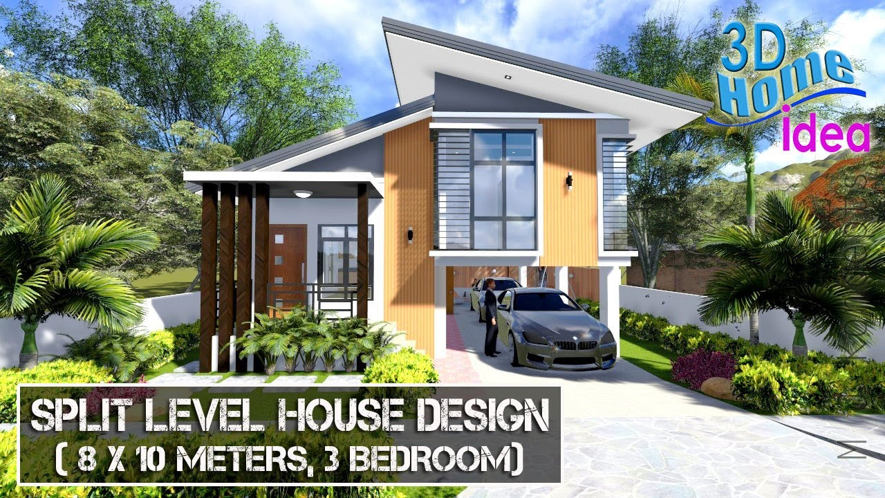 Split level House Design Idea (8x10 meters , 3Bedroom)