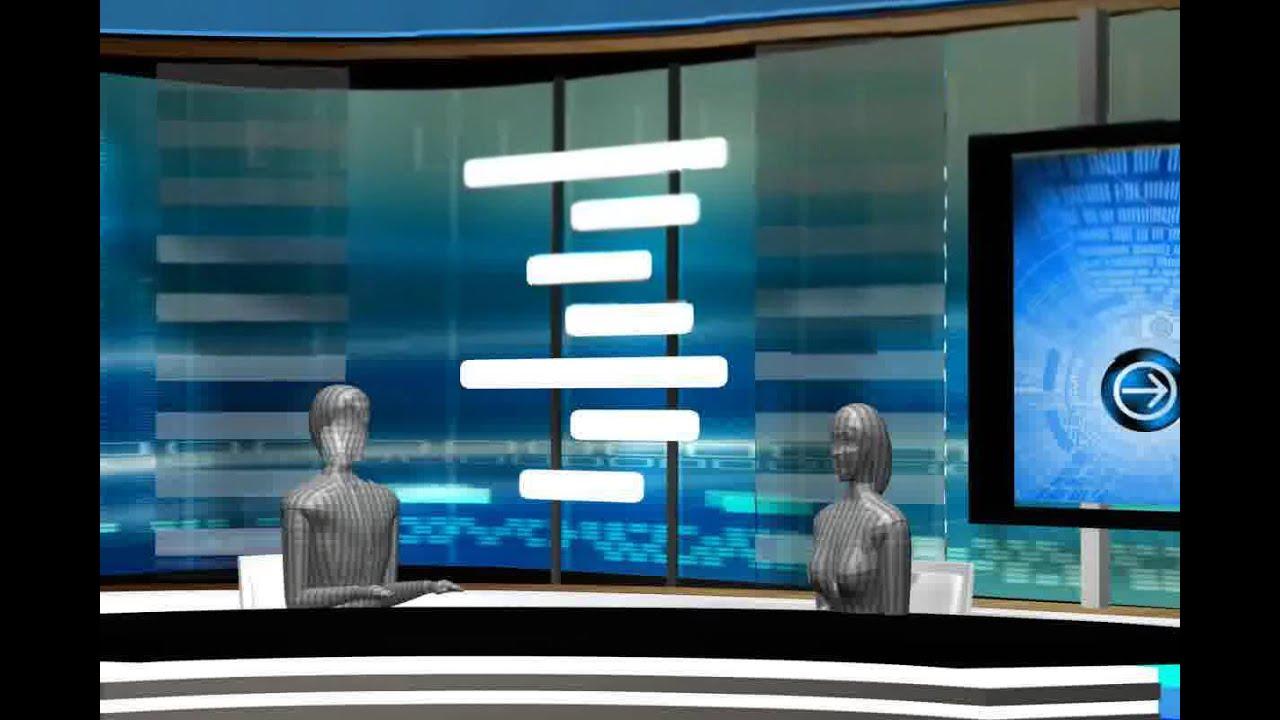 3d model of stage news tv studio set design 020 youtube for Tv set interior design
