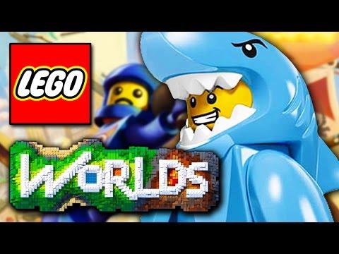 LEGO Worlds #4 - TUBARÃO, CARRO, MOTO, BARCO, BLOCOS DE OURO!!