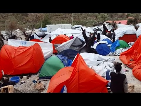Migrants report terrible conditions in camp on Lesbos