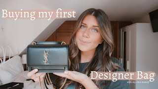 BUYING MY FIRST DESIGNER BAG (YSL) | SAINT LAURENT SUNSET CHAIN WALLET UNBOXING 2020
