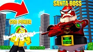 I got GOD FIRE POWER to fight the 1,000,000,000 POWER SANTA.. (Roblox)