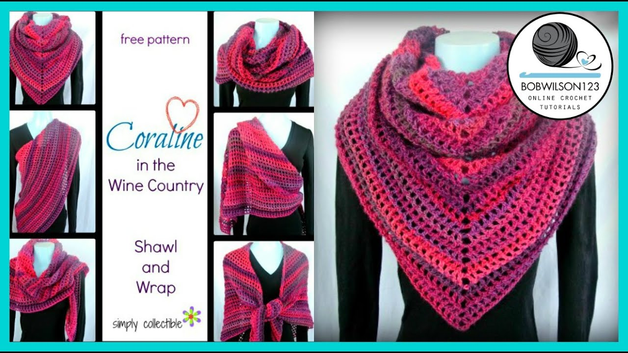 Crochet Shawl Tutorial Coraline In Wine Country Youtube