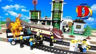 Мультфильмы про машинки. Полицейская машинка Едем на поезде. Для детей ЛЕГО мультики,Трамвай