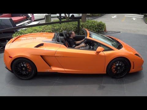 Orange Lamborghini Gallardo Spyder  Start Up Interior Drive at Lamborghini Miami