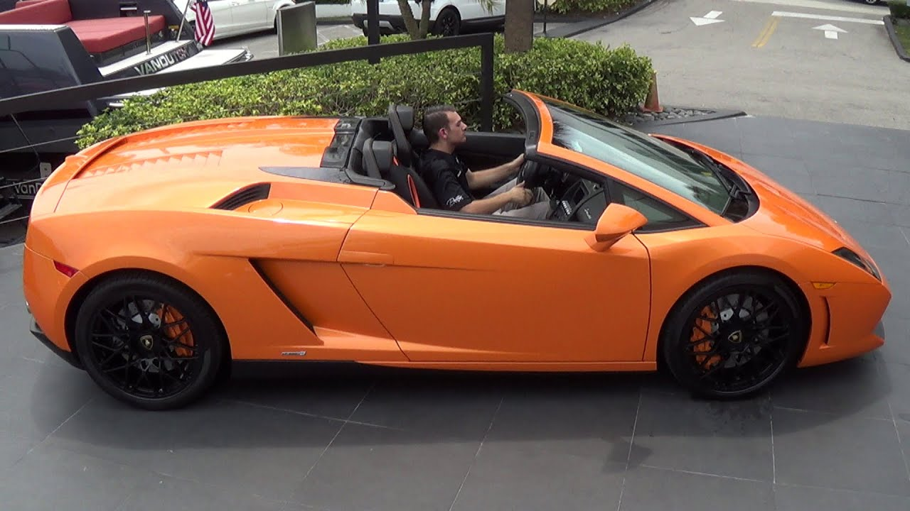 Orange Lamborghini Gallardo Spyder Start Up Interior Drive At Miami