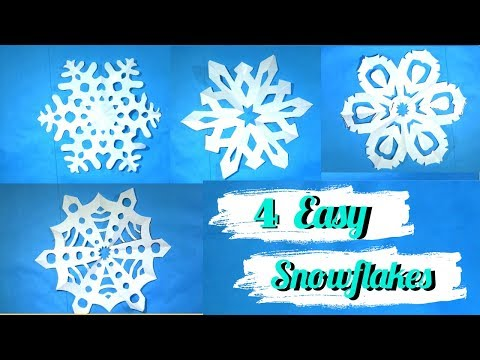 4 Easy Paper Snowflakes ideas | Simple Snowflakes from paper cut out | Christmas Decoration