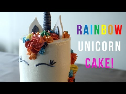 HOW TO MAKE A RAINBOW UNICORN CAKE! - BAKE BITES