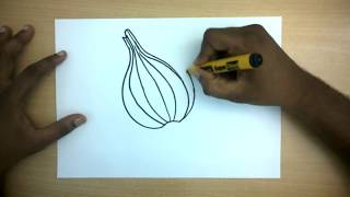 How to Draw an Onion | Easy Step by Step Vegetable Drawing for kids