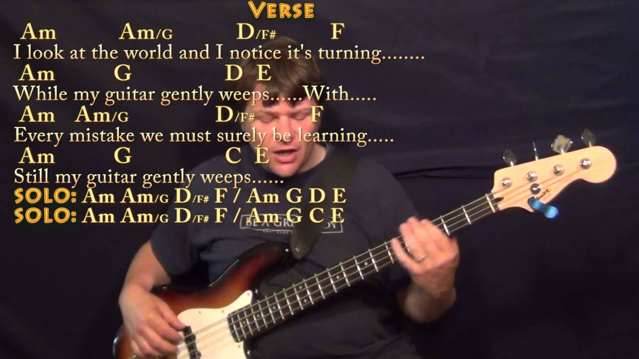 While My Guitar Gently Weeps Beatles Bass Guitar Cover Lesson With