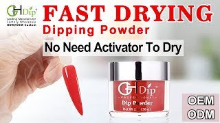 Red Color Dip Nails using Fast Drying Dip Powder