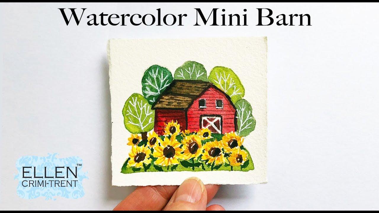 Watercolor Barn Vignette